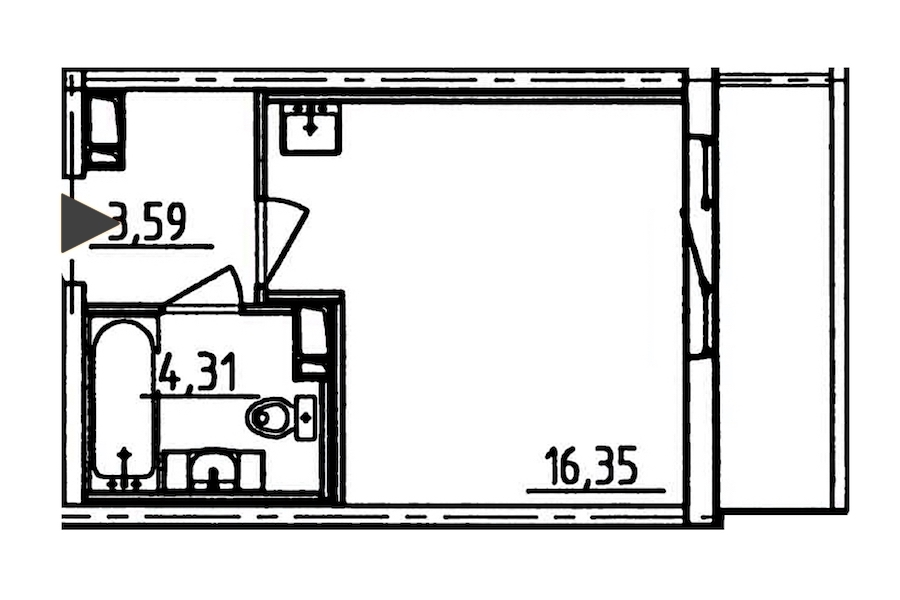 Студия 26 м<sup>2</sup> на 8 этаже