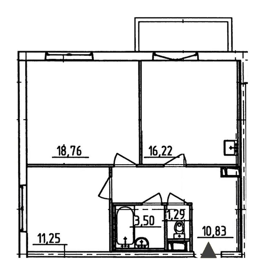 2-комнатная 63 м<sup>2</sup> на 6 этаже