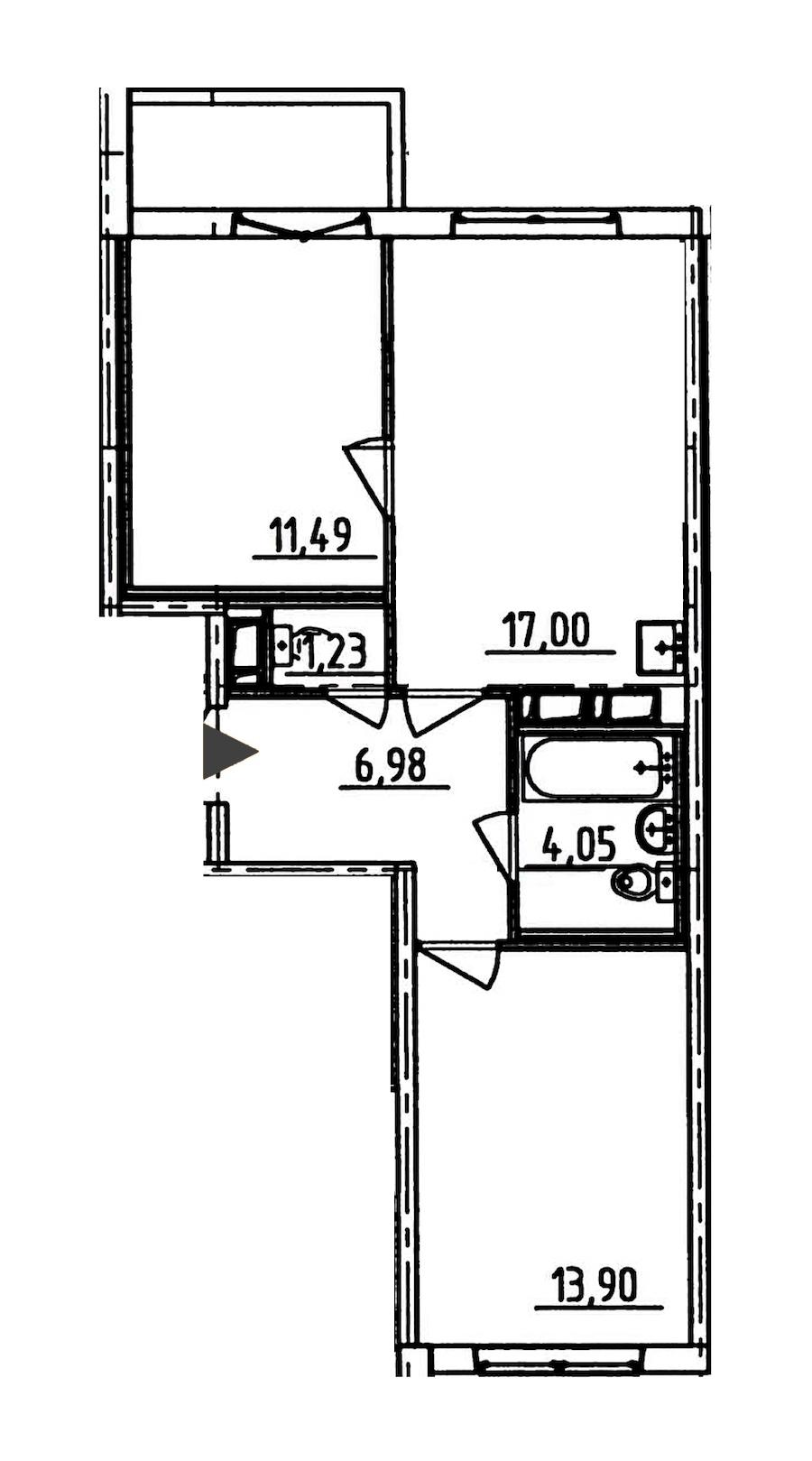 2-комнатная 56 м<sup>2</sup> на 9 этаже