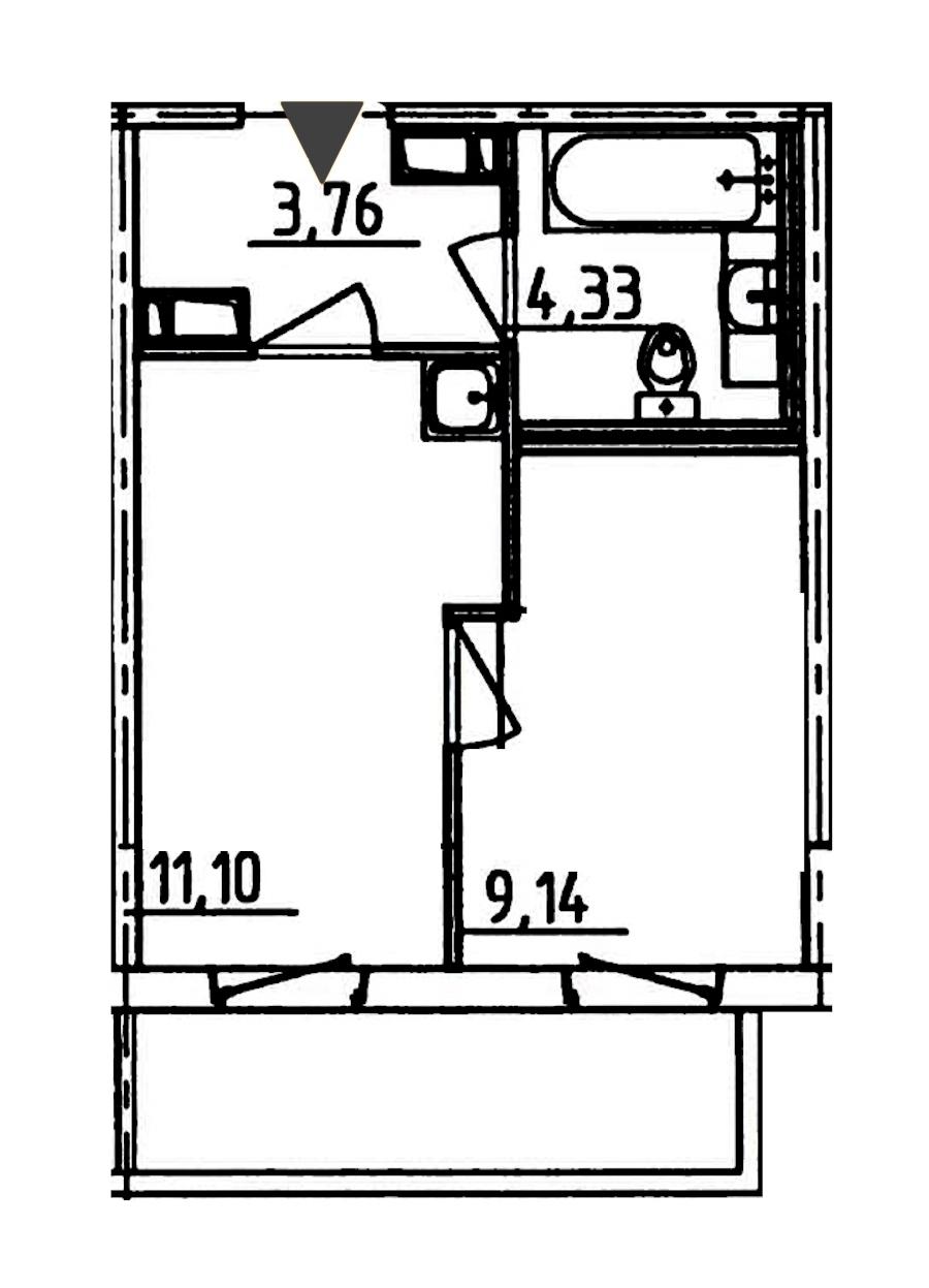 1-комнатная 29 м<sup>2</sup> на 11 этаже