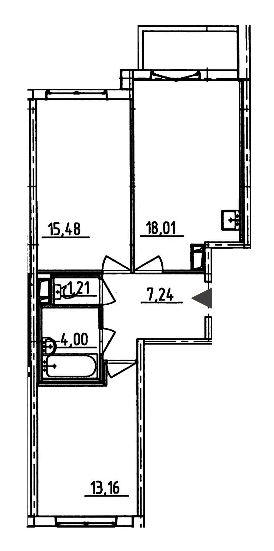 2-комнатная 60 м<sup>2</sup> на 8 этаже