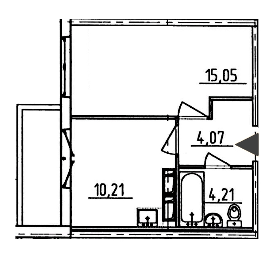 1-комнатная 35 м<sup>2</sup> на 11 этаже