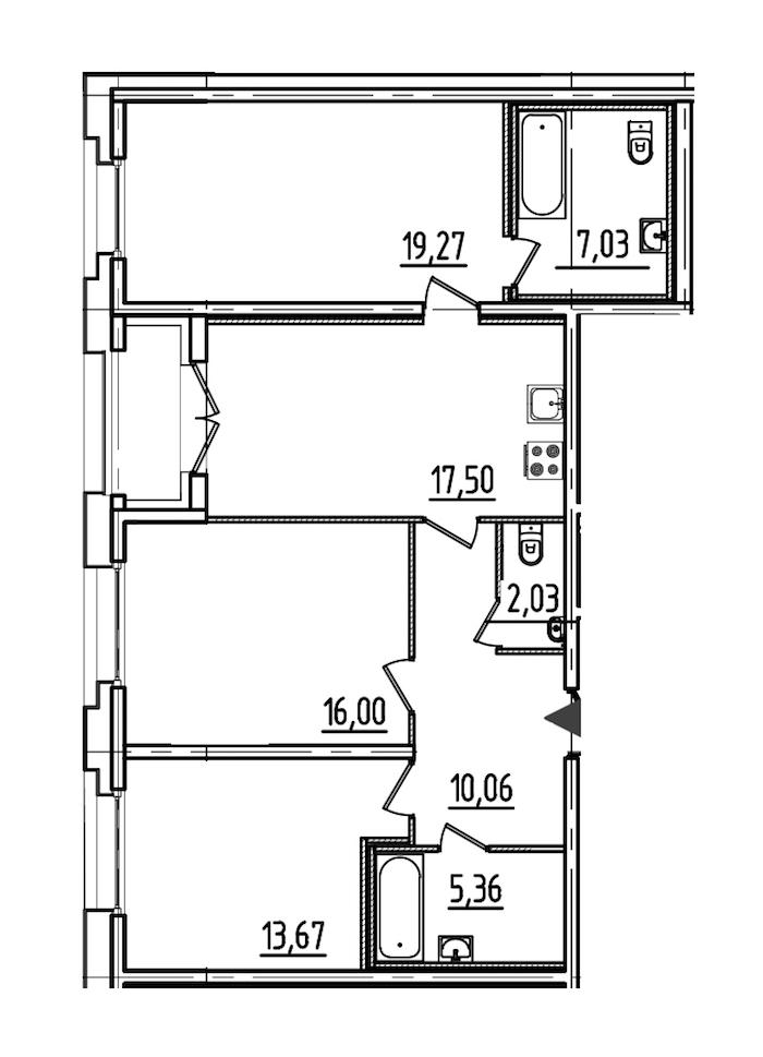 3-комнатная 92 м<sup>2</sup> на 2 этаже