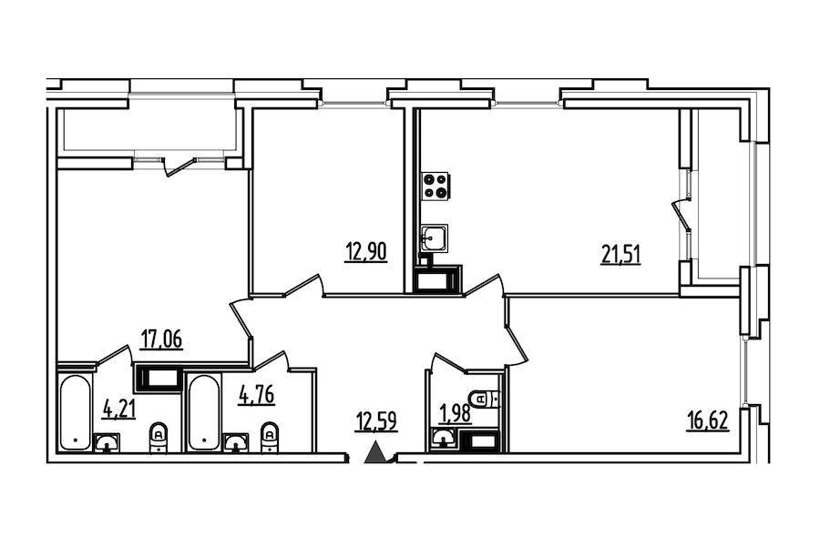 3-комнатная 95 м<sup>2</sup> на 3 этаже