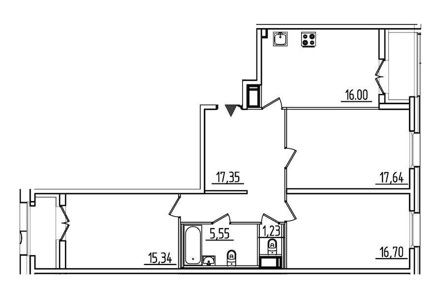 3-комнатная 93 м<sup>2</sup> на 5 этаже