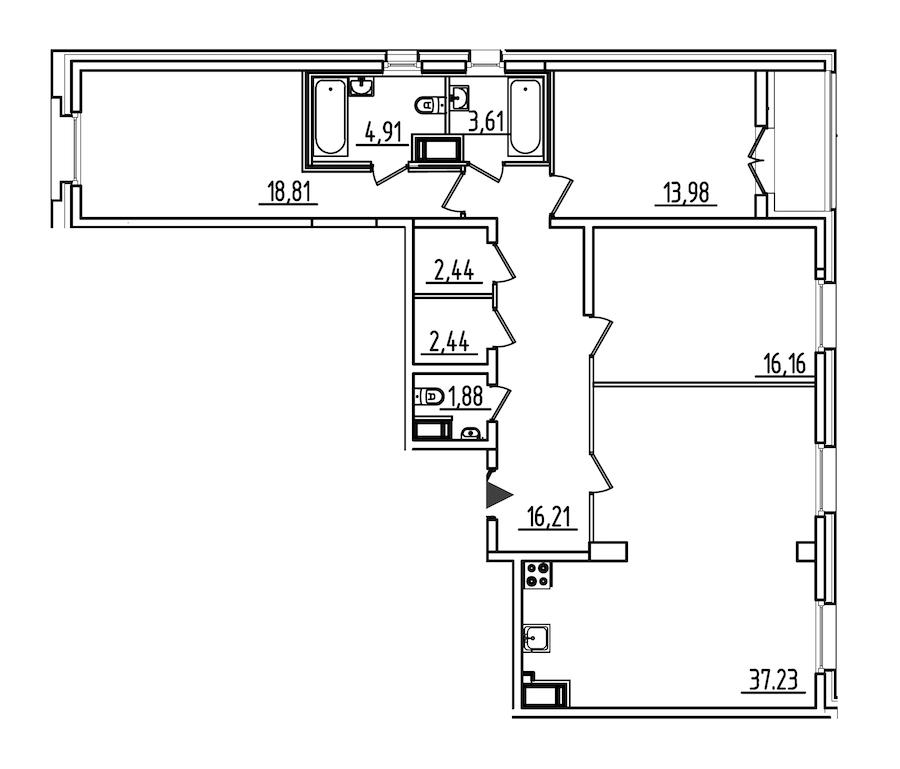 3-комнатная 119 м<sup>2</sup> на 5 этаже