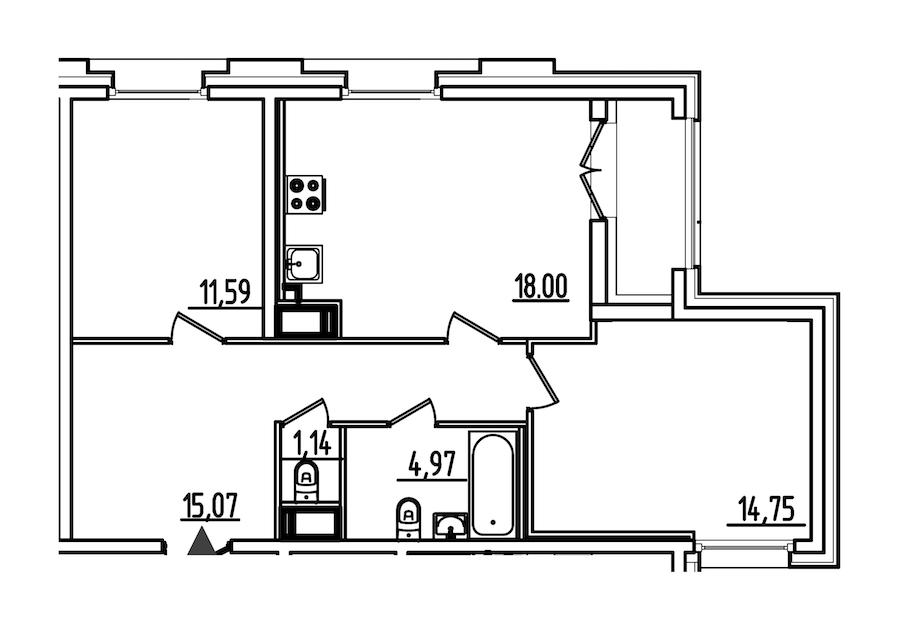 2-комнатная 67 м<sup>2</sup> на 5 этаже