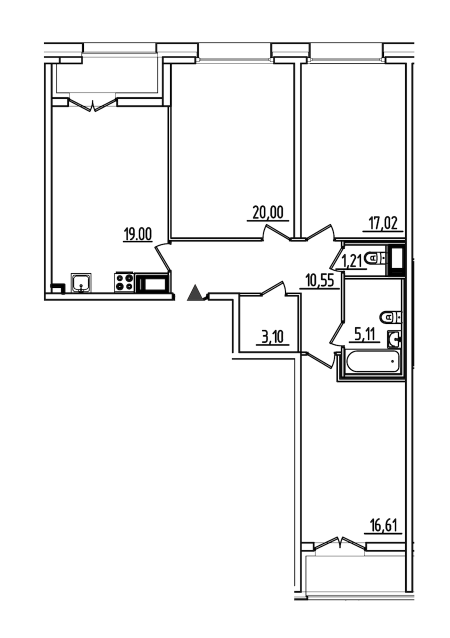 3-комнатная 96 м<sup>2</sup> на 5 этаже