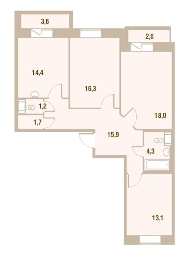 3-комнатная 86 м<sup>2</sup> на 13 этаже