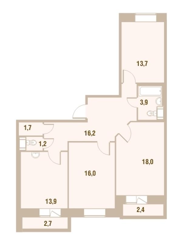 3-комнатная 86 м<sup>2</sup> на 24 этаже