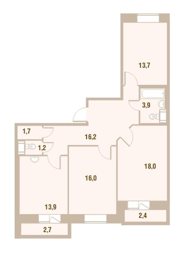 3-комнатная 85 м<sup>2</sup> на 8 этаже