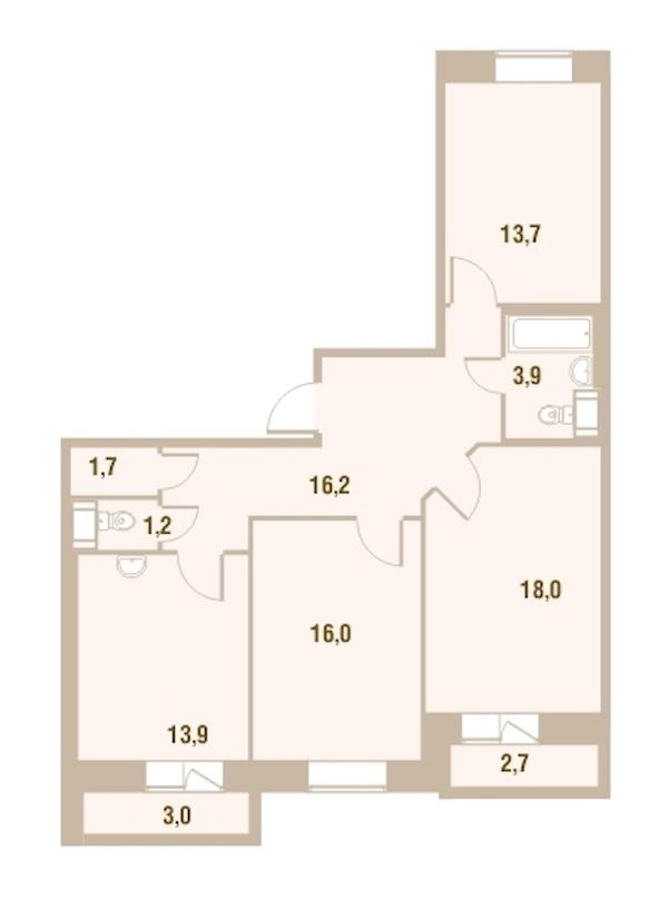 3-комнатная 86 м<sup>2</sup> на 11 этаже
