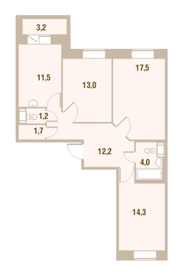 3-комнатная 75 м<sup>2</sup> на 19 этаже