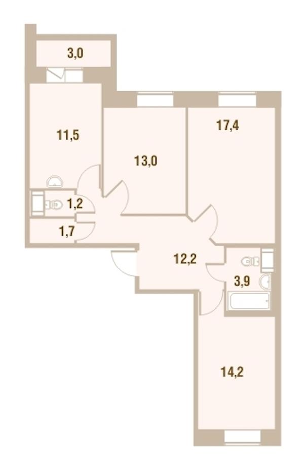 3-комнатная 76 м<sup>2</sup> на 23 этаже