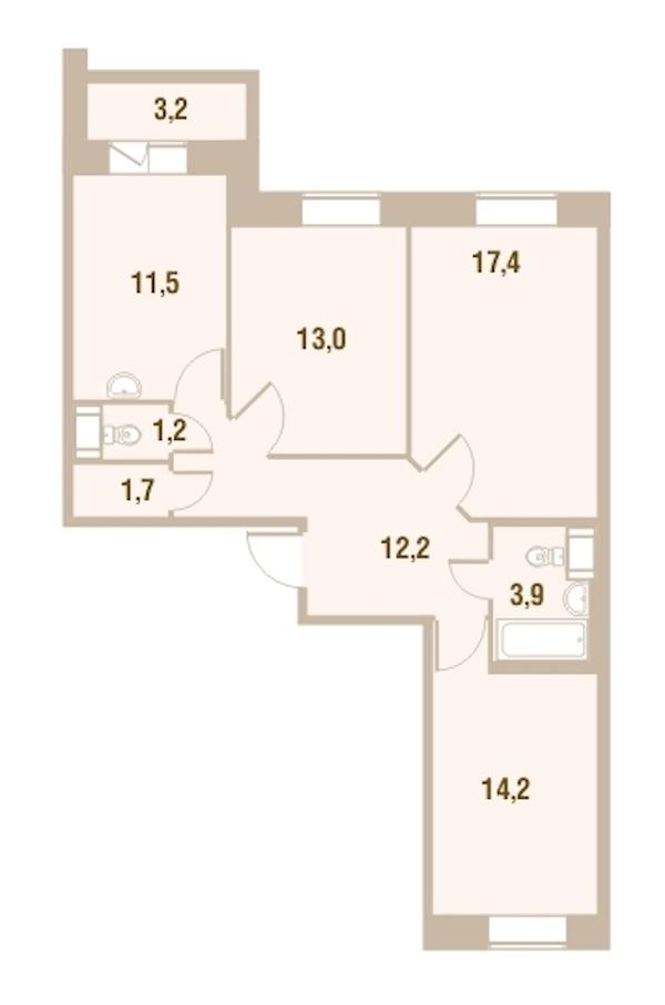 3-комнатная 75 м<sup>2</sup> на 20 этаже