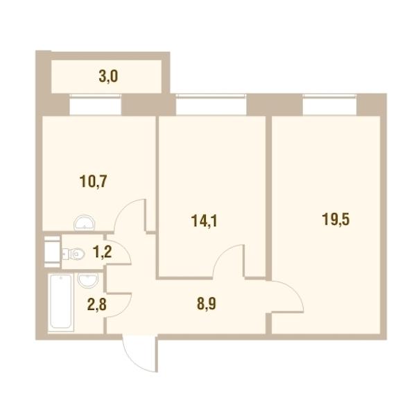 2-комнатная 58 м<sup>2</sup> на 24 этаже