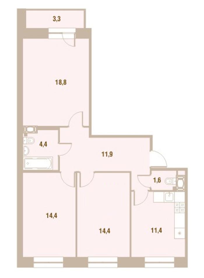 3-комнатная 76 м<sup>2</sup> на 13 этаже