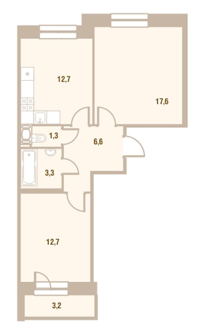 2-комнатная 54 м<sup>2</sup> на 19 этаже