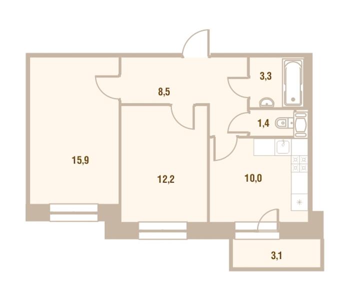 2-комнатная 51 м<sup>2</sup> на 19 этаже