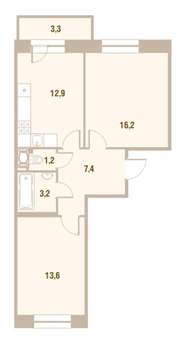 2-комнатная 54 м<sup>2</sup> на 12 этаже