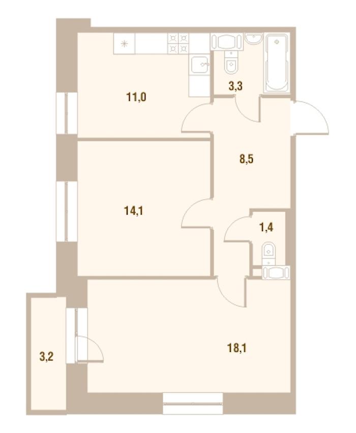 2-комнатная 57 м<sup>2</sup> на 20 этаже