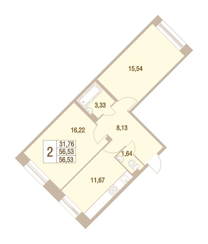2-комнатная 56 м<sup>2</sup> на 1 этаже
