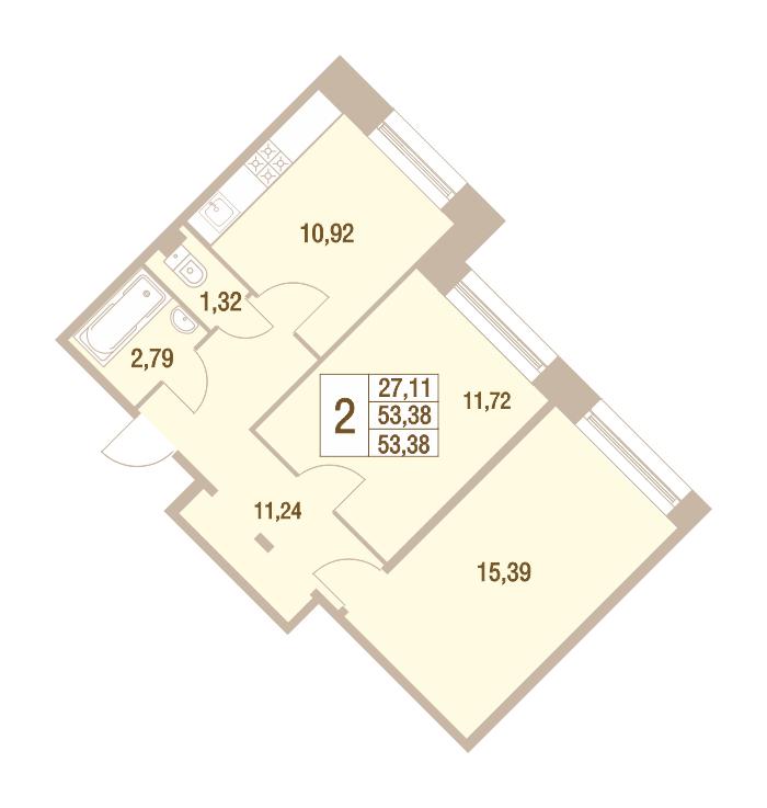 2-комнатная 53 м<sup>2</sup> на 1 этаже