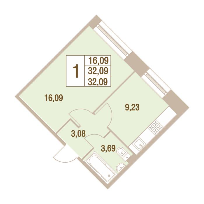 1-комнатная 32 м<sup>2</sup> на 1 этаже