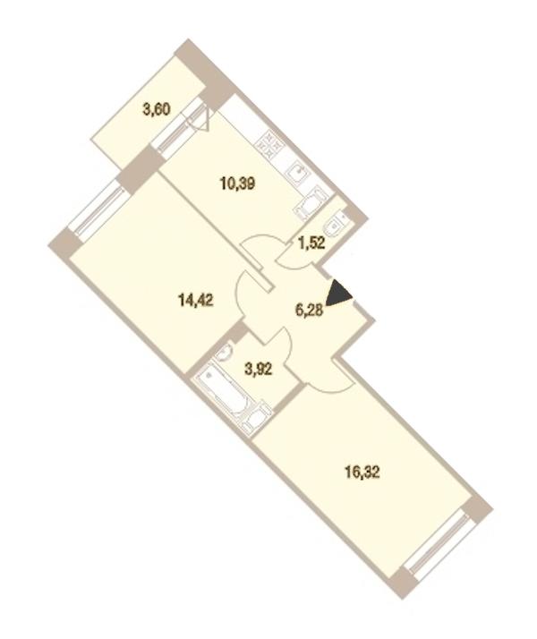 2-комнатная 53 м<sup>2</sup> на 13 этаже