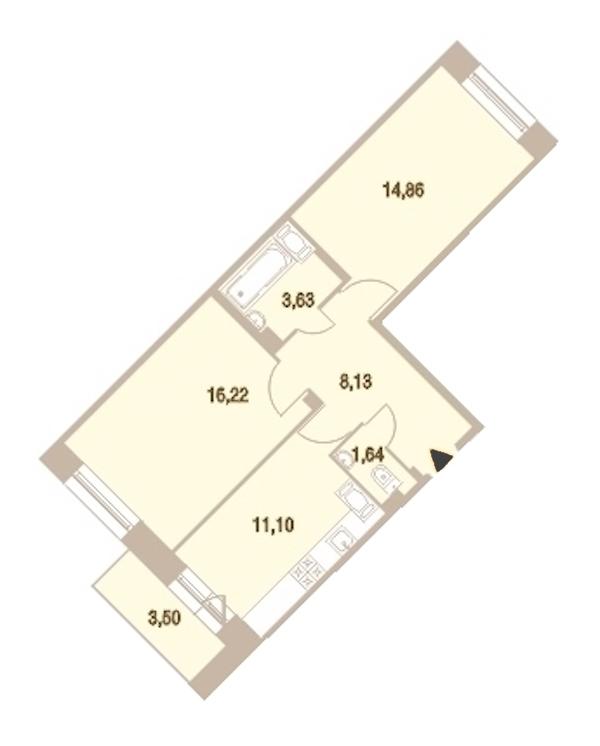 2-комнатная 56 м<sup>2</sup> на 19 этаже