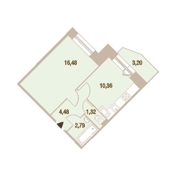1-комнатная 36 м<sup>2</sup> на 21 этаже