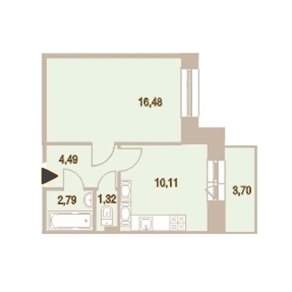 1-комнатная 36 м<sup>2</sup> на 25 этаже