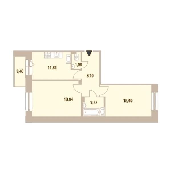 2-комнатная 59 м<sup>2</sup> на 16 этаже