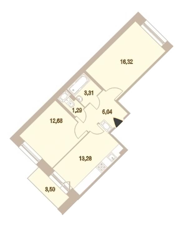 2-комнатная 53 м<sup>2</sup> на 21 этаже