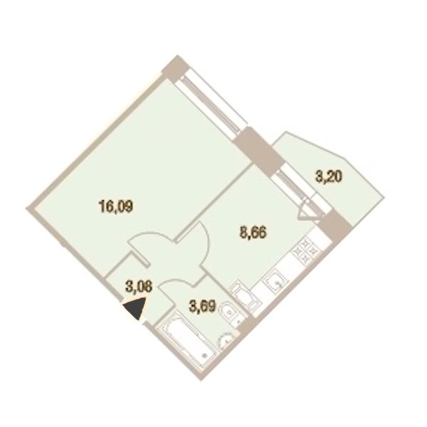 1-комнатная 32 м<sup>2</sup> на 21 этаже