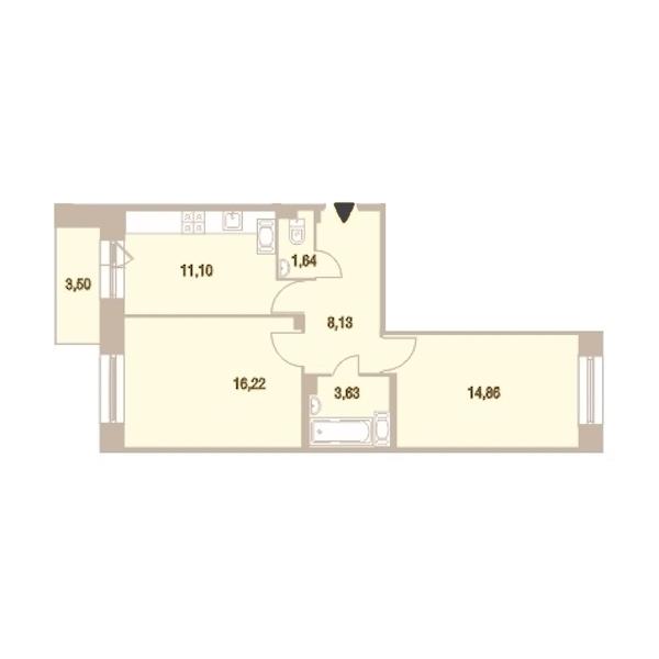 2-комнатная 56 м<sup>2</sup> на 25 этаже