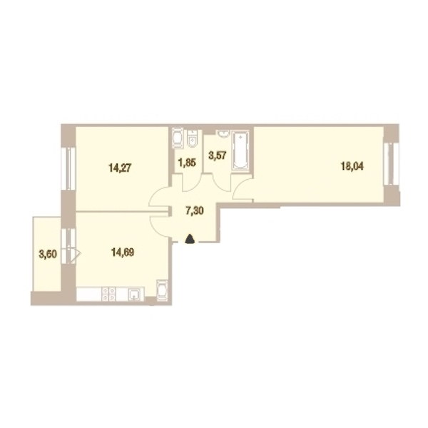 2-комнатная 60 м<sup>2</sup> на 22 этаже