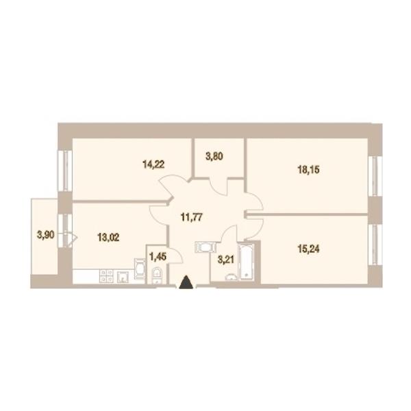 3-комнатная 82 м<sup>2</sup> на 22 этаже