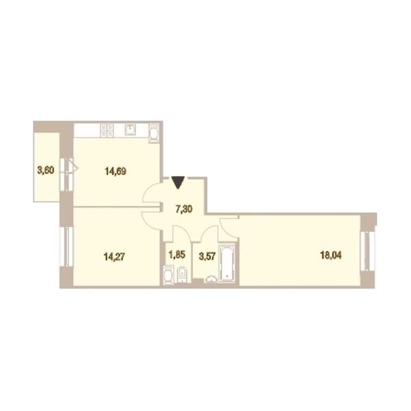 2-комнатная 60 м<sup>2</sup> на 21 этаже