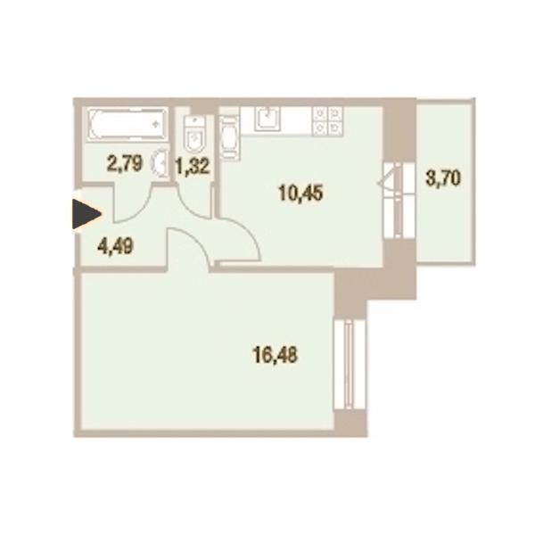 1-комнатная 36 м<sup>2</sup> на 19 этаже
