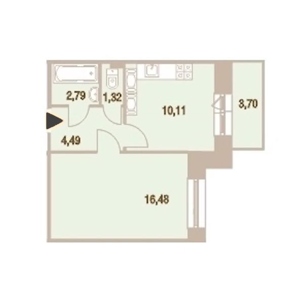 1-комнатная 36 м<sup>2</sup> на 24 этаже