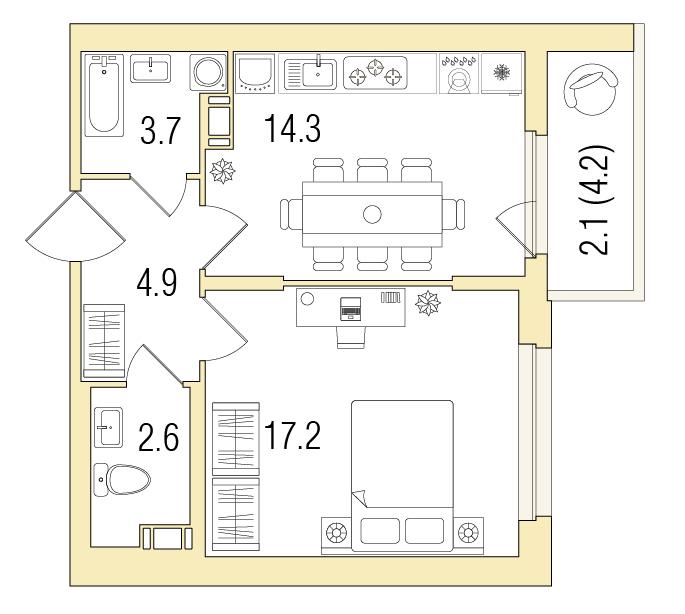 1-комнатная 45 м<sup>2</sup> на 12 этаже
