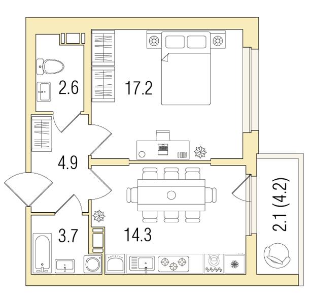 1-комнатная 45 м<sup>2</sup> на 6 этаже