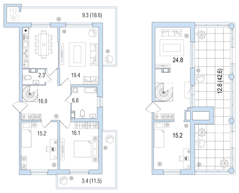 5-комнатная 155 м<sup>2</sup> на 9 этаже
