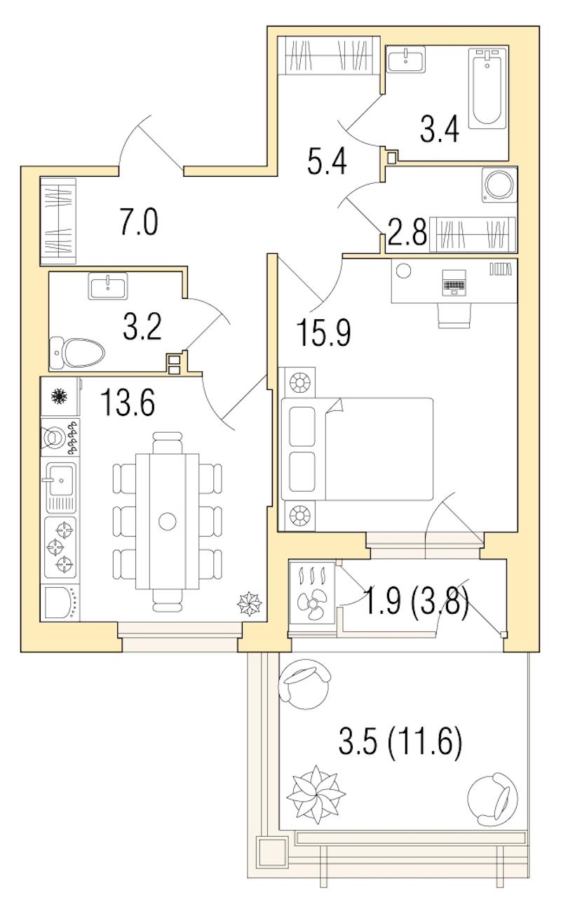 1-комнатная 57 м<sup>2</sup> на 1 этаже