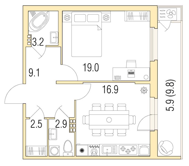 1-комнатная 59 м<sup>2</sup> на 1 этаже