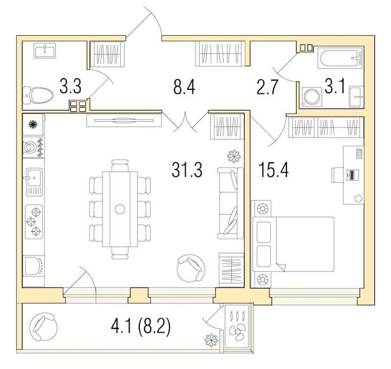 1-комнатная 67 м<sup>2</sup> на 3 этаже