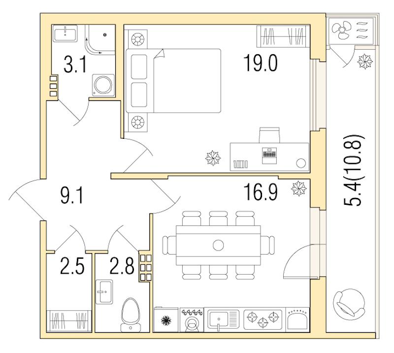 1-комнатная 59 м<sup>2</sup> на 3 этаже