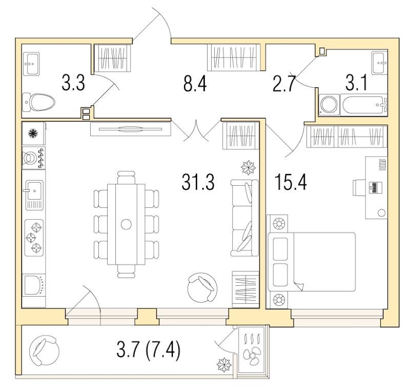 1-комнатная 67 м<sup>2</sup> на 4 этаже