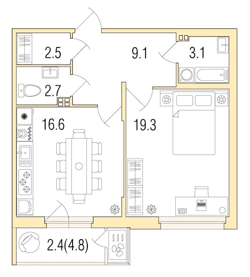 1-комнатная 55 м<sup>2</sup> на 4 этаже
